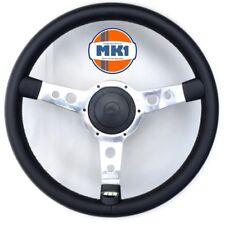 """Vw Golf Mk1 Gti CL DX 13"""" Black Alloy Retro Vinyl Steering Wheel & Boss Horn Kit"""