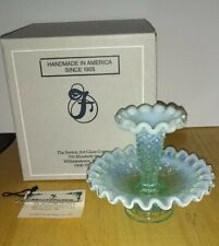 Fenton Mini Diamond Lace Epergne Blue/Green 4806 TG