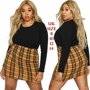 New Womens Checked Print Stretch Ladies Jersey Pencil Short Mini Skirt Size 6-14