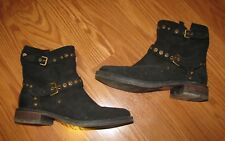 Ugg Australia Womans Black Leather Buckle Ankle Boots Size 6.5