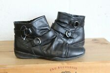 BLACK LEATHER ANKLE BOOTS SIZE 5 / 38 BY MARKS & SPENCER USED CONDITION