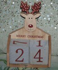 Rustic Wooden Reindeer Countdown to Christmas Calendar Blocks, Advent Xmas