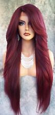 "25"" LONG LACE FRONT DEEP CPART HIGH HEAT SAFE WIG COLOR T1B.BURGANDY SEXY 1114"