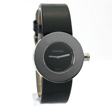 Chanel la Ronde watch stainless steel 29 MM black dial original leather strap!!