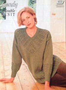 "Wendy   Knitting Pattern Ladies Jumper sweater 4113 Size 32/42"" DK"