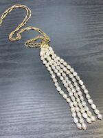 Vintage Bohemian White Tassel  Freshwater Pearl  Beaded Unusual Necklace 20""