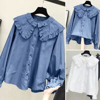 ZANZEA Women Long Sleeve Button Down Lace Patchwork Shirt Top Doll Collar Blouse