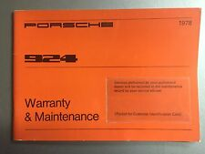 1978 Porsche 924 Factory Owner's Manual Warranty & Maintenance RARE Awesome L@@K
