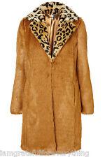 Topshop Boutique edizione limitata Leopardata colletto in pelliccia sintetica Cappotto UK 6 E34 US 2 RARA