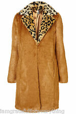 Topshop Boutique Edición Limitada Leopardo Cuello Abrigo de piel sintética UK 12 40 nos 8 Rara