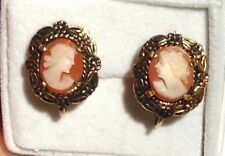 Gold Filled Antique Cameo Earrings Non Pierced Screw Back