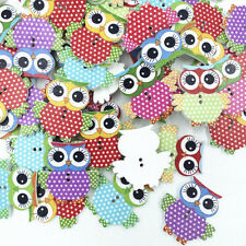 30pcs Owl mixte Forme Motif Boutons en bois Fit Couture Scrapbook Making