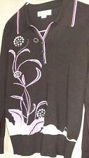 Ladies Meizi black pull over sweater sz L design purple/faux diamonds