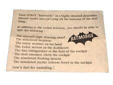 CORGI TOYS VINTAGE 267 BATMAN BATMOBILE ORIGINAL SPECIAL INSTRUCTION SHEET RARE
