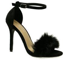 NEW Women Ankle Strap Fur Stiletto Denim Open Toe Chunky Block High Heels Sandal