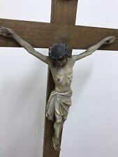 Antique wooden Crucifix. Original hand-carved figure of Jesus Polychromed.
