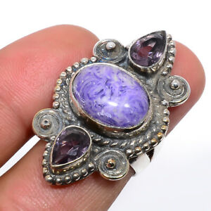 Russian Charoite & Amethyst Gemstone 925 Sterling Silver Jewelry Ring s.6 S2637