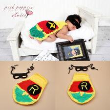 Baby Newborn Knitted Crochet Eyeshade Mask Body Cover Batman Cosplay Photo Props