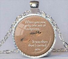 Footprints In The Sand Silver Frame & Chain Pendant Necklace USA SELLER Cabochon