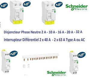Disjoncteur 1P+N 2A-10A-16A-20A-32A Interrupteur dif A-AC 2x40A-2x63A Schneider