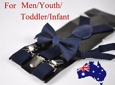 New Navy Blue Bow tie Bowtie and Elastic Suspenders Braces set for All ages