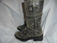 KELSI DAGGER BROOKLYN KDB WOMEN WASHED BLACK LEATHER ZIP ANKLE BOOTS  SIZE 4/37