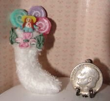 Dollhouse Victorian shabby chic Christmas stocking with doll OOAK 1/12 #1