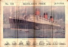 """1934 RMS QUEEN MARY 534 26""""/18"""" COLOR NEWSPAPER PAINTING RARE PRE MAIDEN VOYAGE"""