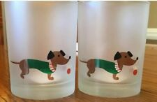 CULVER Set of 2 Christmas Dog Dachshund Frosted Drink Glasses Holiday LowBall