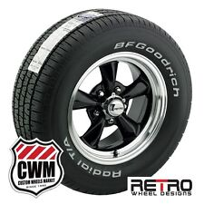 "15x7""/15x8"" Retro Wheels Black Rims BFG Tires 225/60R15 245/60R15 Chevy 1982-92"