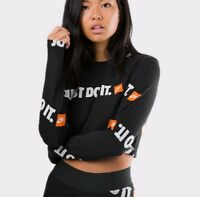 XXL Nike Crop Top long t- shirt sleeve print logo black just do it AR6226 010