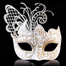 Butterfly Venetian Masquerade Mask for Women M33162 [White/gold]