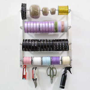 Wall Mount Ribbon Organizer Storage Display Wire Sewing Spool Rack Key Holder