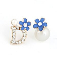 Chic Women Pearl Letter D Flower Earrings Daisy Crystal Rhinestone Ear Stud