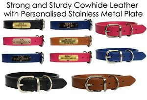 Personalised Dog Collar Cowhide Leather Collar Engraved ID Tag for Pets XS-XXL
