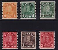 Canada Sc #178-183 (1930-1) KGV Arch/Leaf Coil Set Mint VF NH MNH