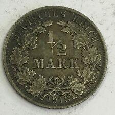 Alemania Plata Antigua 1918A 1/2 marca de moneda