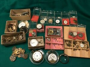Vintage Wrist and Pocket Watch Movements,Cases, Faces, Gears, Parts etc