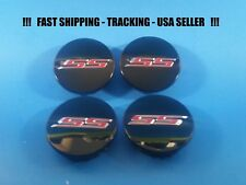 4 Black Center Caps hub cap logo For Chevy 2016 - 2017 Camaro SS  23366350