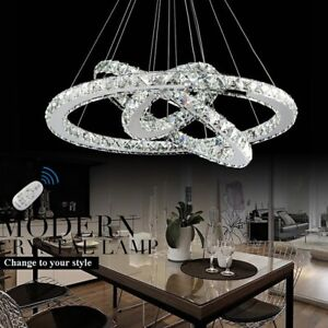 WDW 3 Ring Crystal LED Light Ceiling Pendant Chandelier Remote Control, Chorme