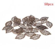 Lots 50PCS Leaves Filigree Metal Crafts Jewelry DIY Accessories Pendant Fashion