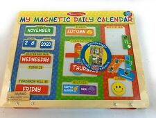 Melissa & Doug My Magnetic Calendar Wooden Board 83 Magnets Home Schooling