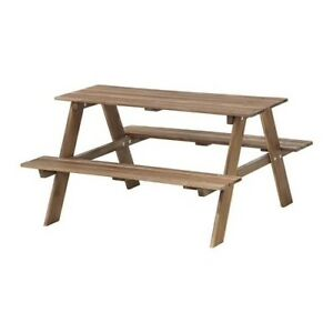 RESÖ Children's picnic table, gray-brown stained gray-brown