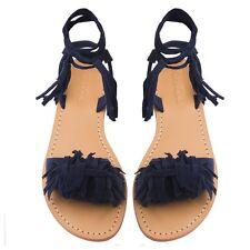 MYSTIQUE Monterey Size 7 Boho Fringe Lace Up Suede LEATHER Sandals Navy Blue NIB