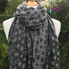 STAR PASHMINA LADIES SCARF BLACK & GREY, VERY SOFT ,STYLISH WRAP SHAWL