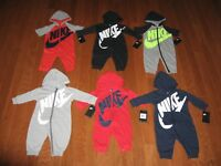 Nike Futura Infant Coverall Hoodie Outfit 0-3M, 3-6M, 6-9M, 9-12M, 18M, 24M NWT