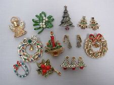 11 VINTAGE CHRISTMAS PINS BROOCHES & CLIP ON EARRINGS with RHINESTONES