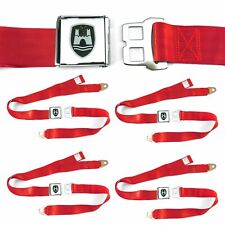 VW Volkswagen Wolfsburg Red Lap Seat Belt Buckle fits Bug Bus Ghia Set of Four