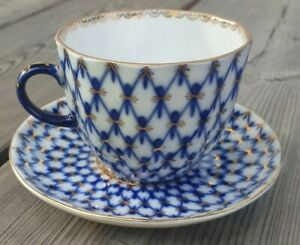 Lomonosov Kobaltnetz Kaffee Mokka Tasse Teller Porzellan UDSSR Russia