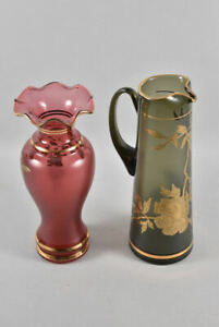 h17c09- 2x Glas Vase & Karaffe